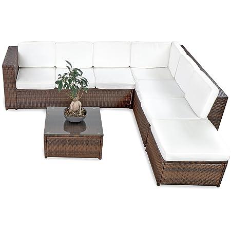 XINRO 19tlg XXXL Polyrattan Gartenmöbel Lounge Sofa gunstig - Lounge Möbel Lounge Set Polyrattan Rattan Garnitur Sitzgruppe - In/Outdoor - handgeflochten - mit Kissen - braun