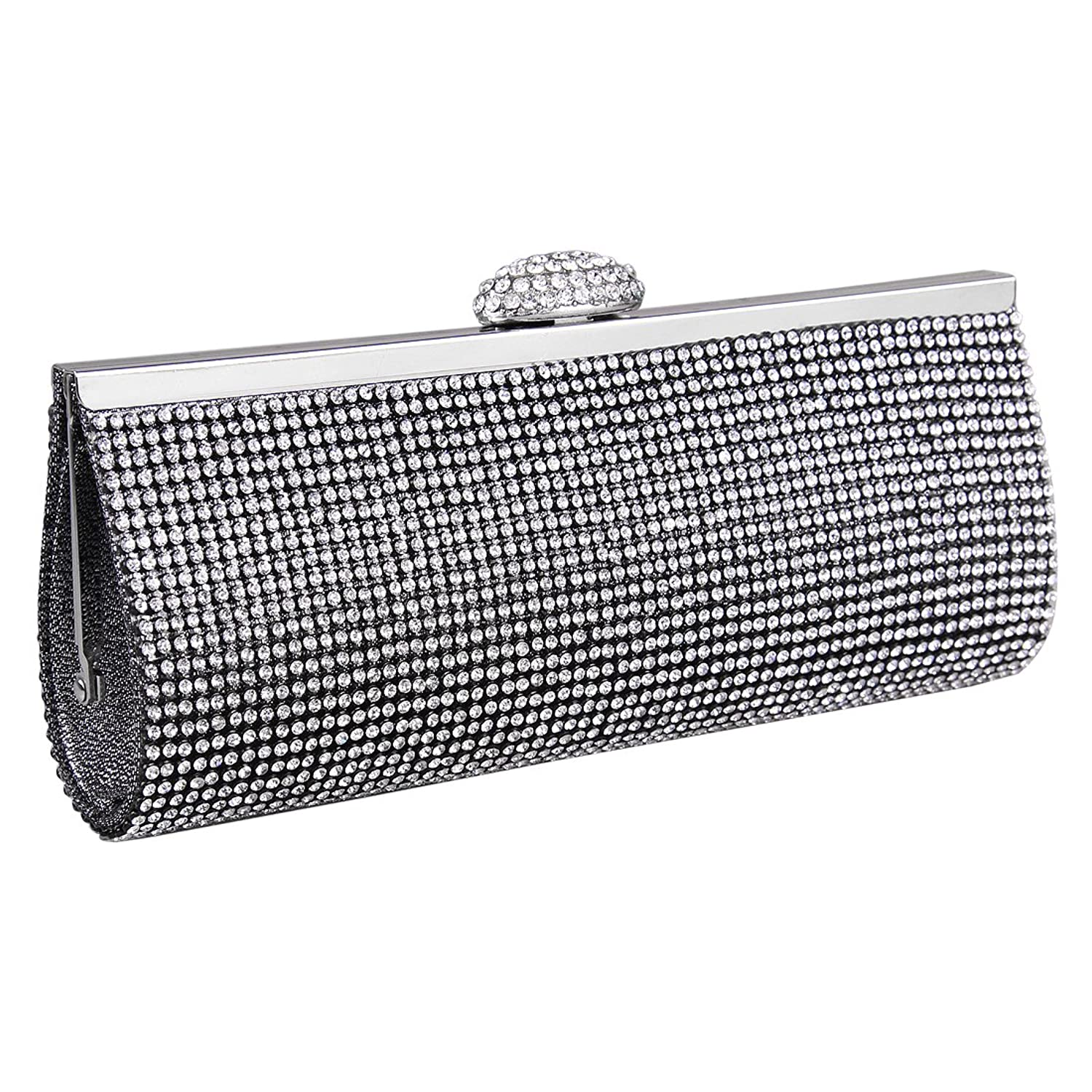 ECOSUSI Elegant Rhinestones Clasp Flap Clutch Evening Handbag Purse 16e2513fd06f5