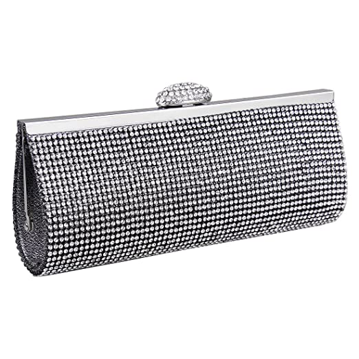 Ecosusi Sophisticated Crystals Rhinestones Clasp Flap Clutch Evening Bag Baguette Handbag (Black)