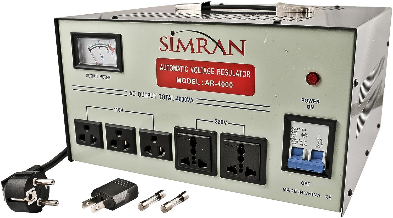 Simran AR-5000 5000-Watt Heavy Duty Voltage Regulator/Stabilizer with Built-In Step Up/Down Voltage Transformer, Grey