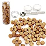 Wax Seal, Yoption 140 Pieces Octagon Sealing Wax Sticks Beads with Candle Melting Spoon for Wax Seal Stamp (Gold)