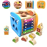 Lewo Wooden Shapes Sorter Activity Centers Lacing Beads Early Development Toys for Toddlers