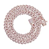 PY Bling Hip Hop Mens Full Iced Out 15mm White Gold Rose Gold Plated CZ Miami Cuban Link Chain Choker 18