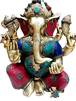 "18"" Large Taj Ganesha Statue Hindu God Brass Sculpture Turquoise Ganesha Idol Decor Gift"