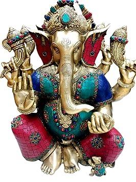 "18"" Large Taj Ganesha Statue Hindu God Brass Sculpture Turquoise Ganesha Idol Decor Gift"