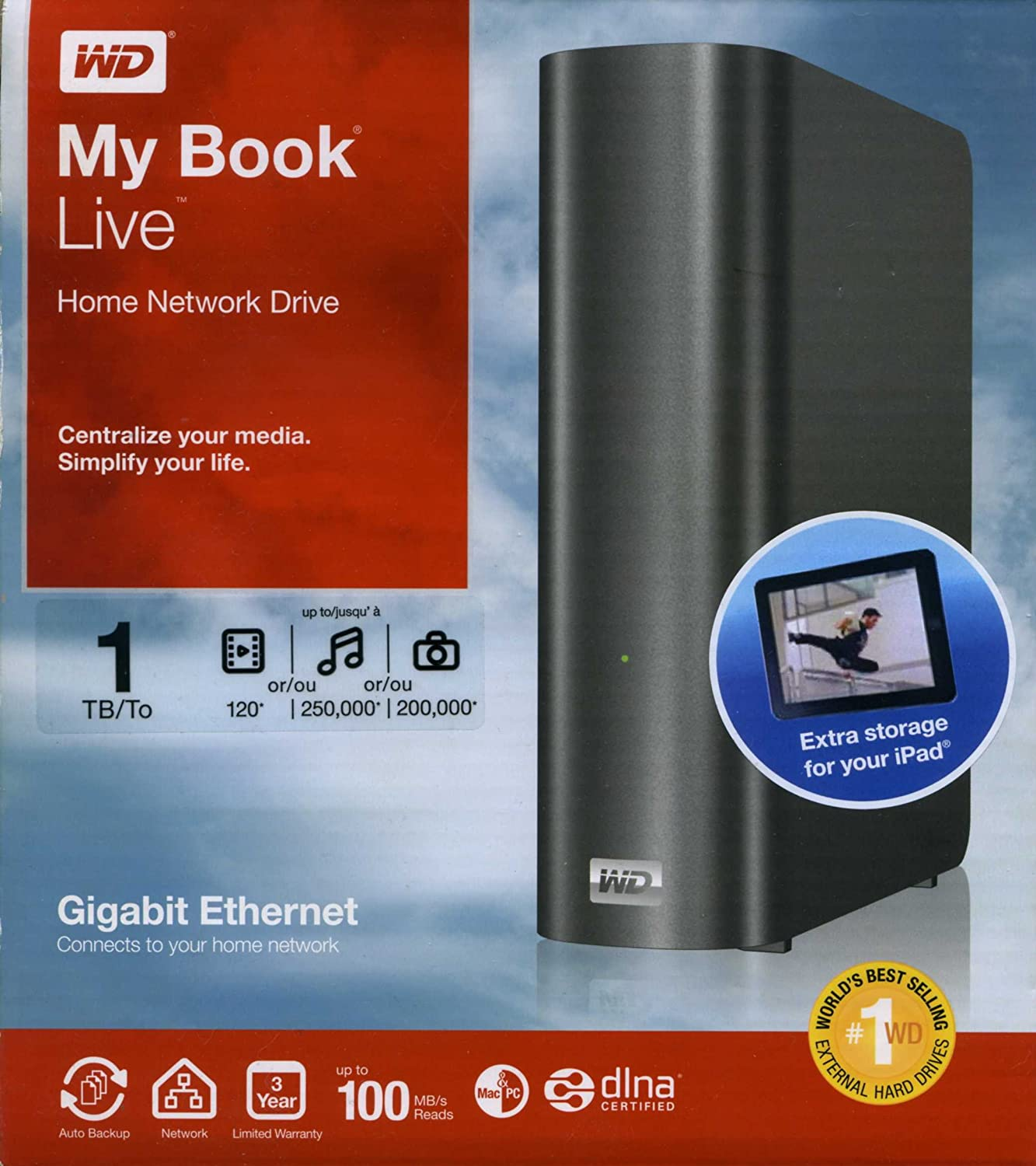 Comparer WESTERN DIGITAL MY BOOK LIVE WDBACG0010HCH NOIR 1TO