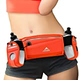 ANMRY Running Belt 2 Separated Zipper Pockets Waist Bag,Hydration Belt with Two 10OZ Water Bottles Waist Pack for Running, Hiking, Biking and Fitness, 6.5 inches Pocket for All Smartphones - Orange (Color: Orange)
