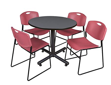 Regency Seating 42-Inch Round Grey Laminate Table with Kobe Base and 4 Zeng Stacker Burgundy Chairs