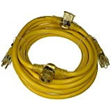 Yellow Jacket 2830 Woods STW Adapter Cord with 3-Outlet Lighted Power Block, 3 12 Awg Bare Conductor, 25 Ft L, Foot, Copper (Color: Copper, Tamaño: 25 ft)