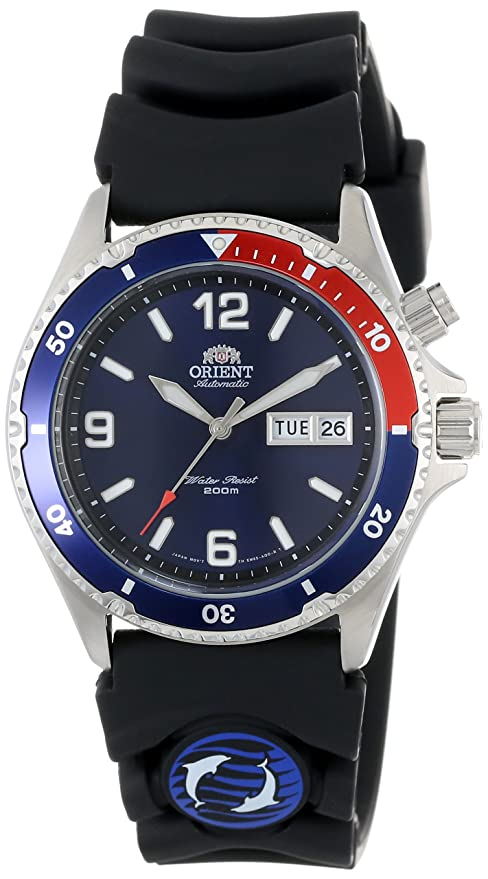 Best watch brands Orient Men's CEM65003D Blue and Red Bezel Automatic Rubber Strap Dive Watch