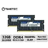 Timetec Hynix IC 32GB Kit (2x16GB) DDR4 2666MHz PC4-21300 Unbuffered Non-ECC 1.2V CL19 2Rx8 Dual Rank 260 Pin SODIMM Laptop Notebook Computer Memory RAM Module Upgrade (32GB Kit (2x16GB)) (Tamaño: 32GB Kit (2x16GB))