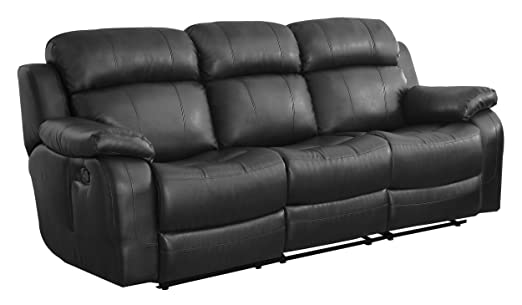 Homelegance Marille Reclining Sofa with Center Console Cup Holder, Black