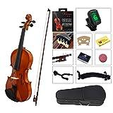 YMC VL-NR 4/4 Violin Starter Kit with Hard Case, Bow, Rosin, Extra Strings, Shoulder Rest, Mute, Electronic Tuner, Pinkinest, Polish Cloth, Violin Hanger, Natural, Full Size (Color: Natural)