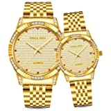 Prince Gera 18K Gold Plated Couple/Lovers Watches Calendar Date Automatic Mechanical Luxury Analog Waterproof Wrist Watches (Color: Gold, Tamaño: couple)