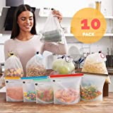 Reusable Bag Set of 10 - 5 Silicone Food Bags - 5 Produce Mesh Bags - Sandwich Silicon Bags for Freezer, Sous Vide Cooking - Eco Storage Grocery Bags for Fruits, Vegetables, Shopping by Garnetti (Color: Transparent White, Tamaño: Medium, Large)
