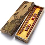 Chopsticks Reusable Chinese Style Wooden Dragon and Phoenix Chopsticks with Holder and Carrying Bag Chinese Gift Set Chopsticks set(2 Pairs) (Color: Dragon and Phoenix Chopsticks, Tamaño: Medium)