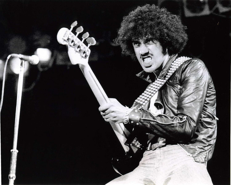 Vintage guitar player has fun
