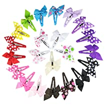 Hipgirl Boutique Girls 22pc Set Small (1.5) Pinwheel Hair Bow Snap Clips Barrettes-one Size in Gift Box