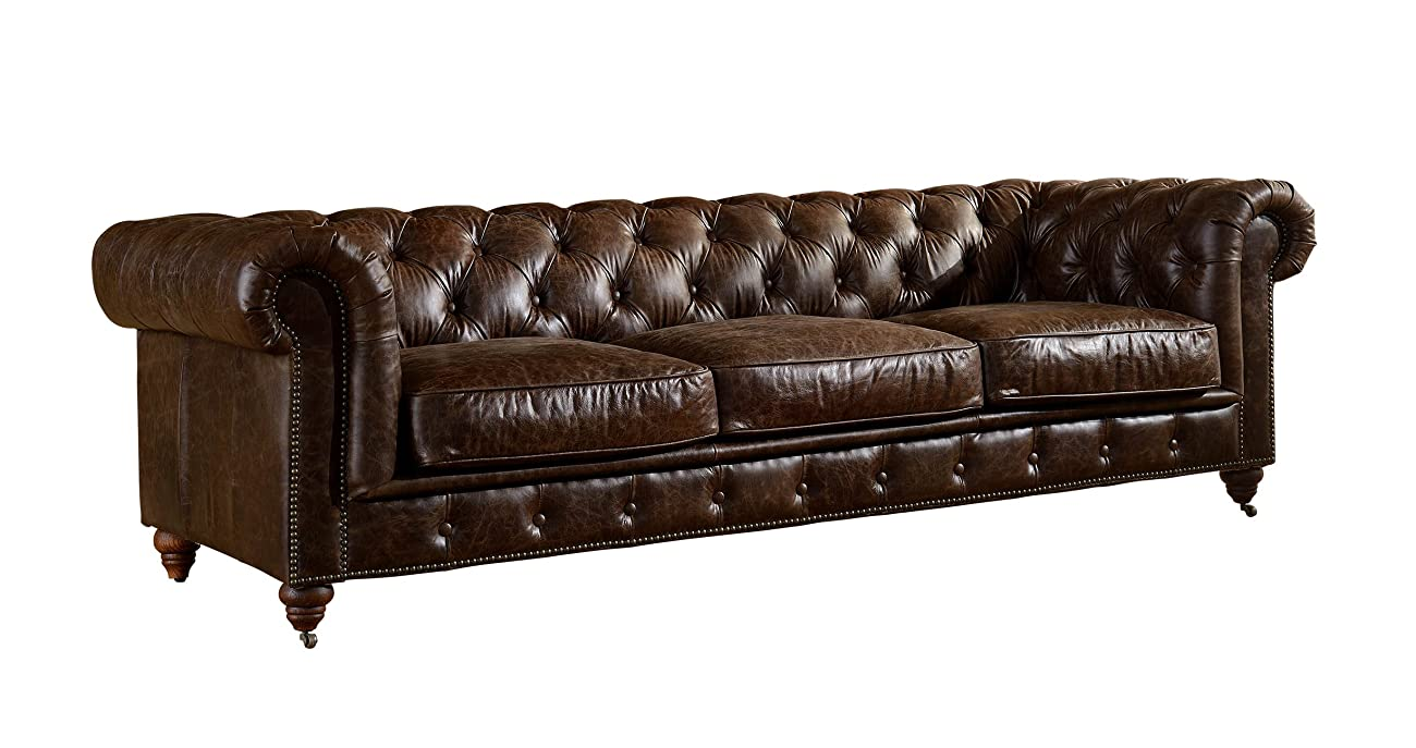 Crafters and Weavers Top Grain Vintage Leather Chesterfield Sofa 0