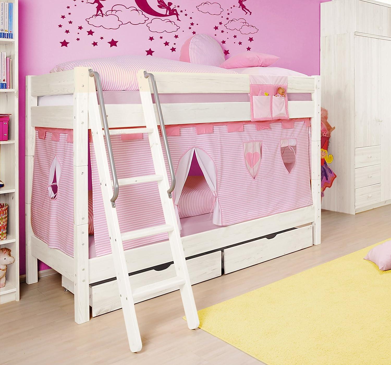 SAM® Etagenbett für Kinder Prinzessin II weiß aus massiv Holz Variante Basisbett 2 x Sicherheitsrollrost und 1 x Vorhang in rosa weiß (auch in anderen Zusammenstellungen möglich) mit Schrägleiter Leiter schräg Lieferung erfolgt zerlegt mit einem Paketdienst günstig online kaufen