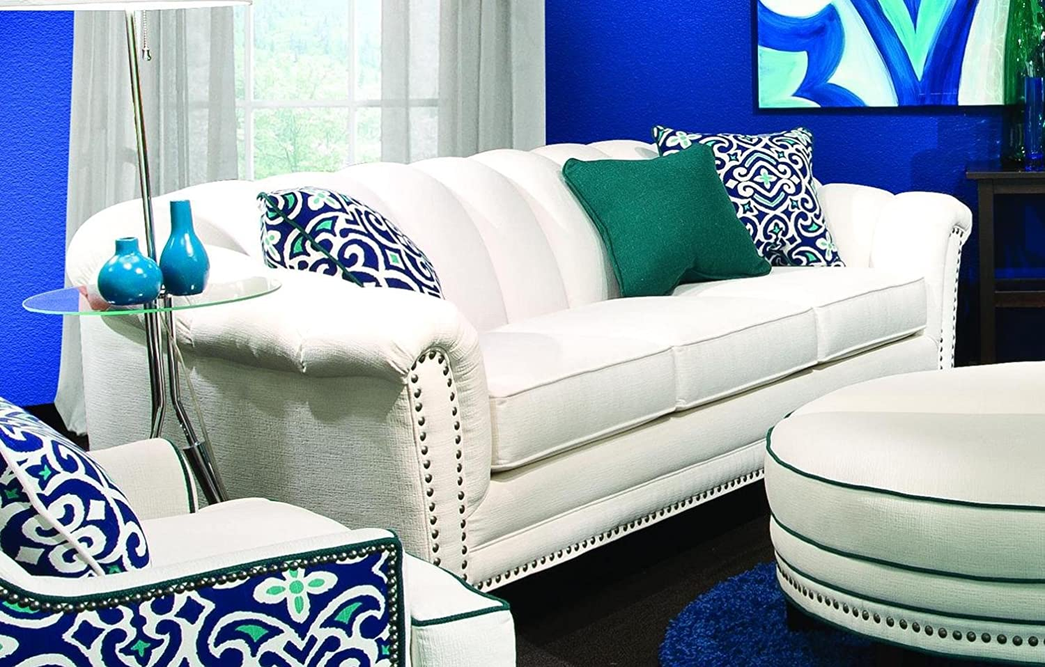 Chelsea Home Furniture Channel Sofa - Heavenly Oyster with 2 18accent Pillows and 1 16 Emerald accent Pillow included