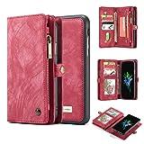 iPhone 8 Plus Case,AKHVRS Handmade Premium Cowhide Leather Wallet Case,Zipper Wallet Case [Magnetic Closure]Detachable Magnetic Case & Card Slots for iPhone 7 Plus & iPhone 8 Plus - Red