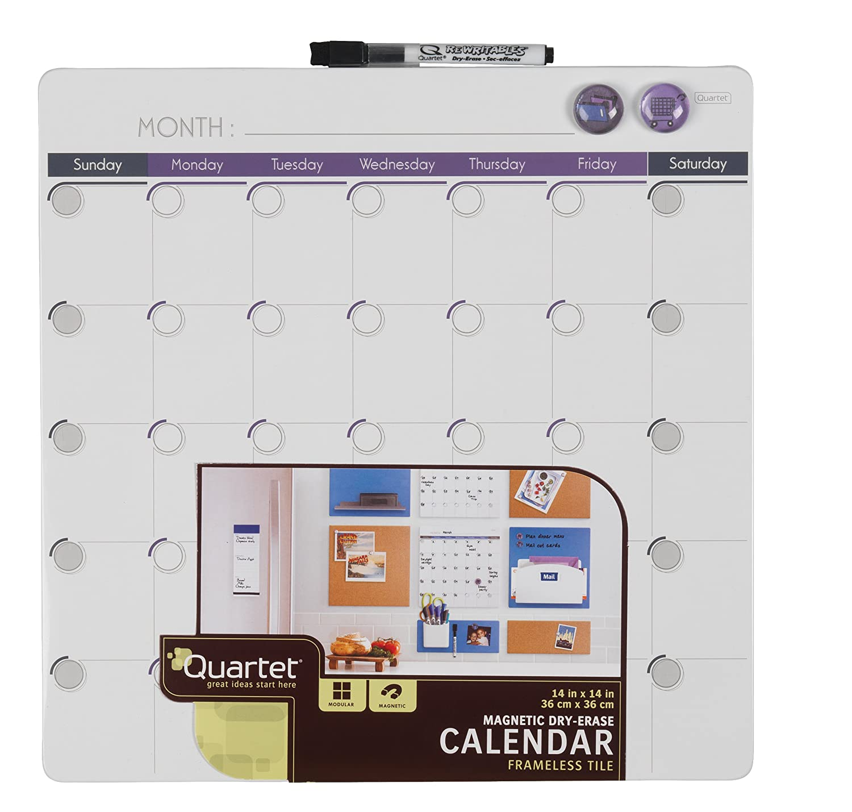 Quartet Magnetic Dry Erase Calendar Tile 14 X 14 Inches