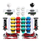 Qenker 2 Player LED Arcade DIY Parts 2X USB Encoder + 2X Joystick + 20x LED Arcade Buttons for PC, MAME, Raspberry Pi, Windows (Mixed Color Kit) (Color: Mixed Color Kit)