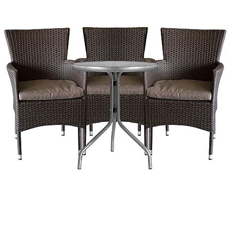 4tlg. Gartengarnitur Bistrotisch Ø60cm mit geriffelter Tischglasplatte + Rattansessel, stapelbar, Polyrattanbespannung, braun-meliert inkl. Sitzkissen