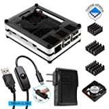Smraza for Raspberry Pi 3 Case with Cooling Fan, 2.5A Power Supply and ON / OFF Switch USB Cable, Compatible with Raspberry Pi 3b & 2 Model B(Not include Raspberry pi board)