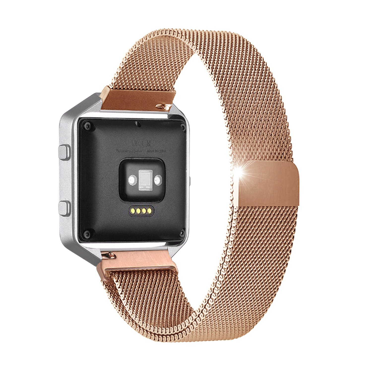 "Fitbit Blaze Accessories Band Large, UMTele Milanese Loop Stainless Steel Mesh Bracelet Metal Replacement Strap Band with Unique Magnet Lock for Fitbit Blaze Smart Fitness Watch Rose Gold (6.1""-9.3"")"