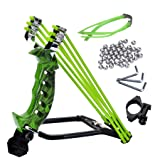 NOBONDO Strong Folding Wrist Rocket Slingshot - Heavy Duty Adjustable Stainless Steel Wrist Brace Hunting Catapult with 2 Rubber Bands and 100 Ammo Balls (Color: Camouflage Green, Tamaño: Medium)
