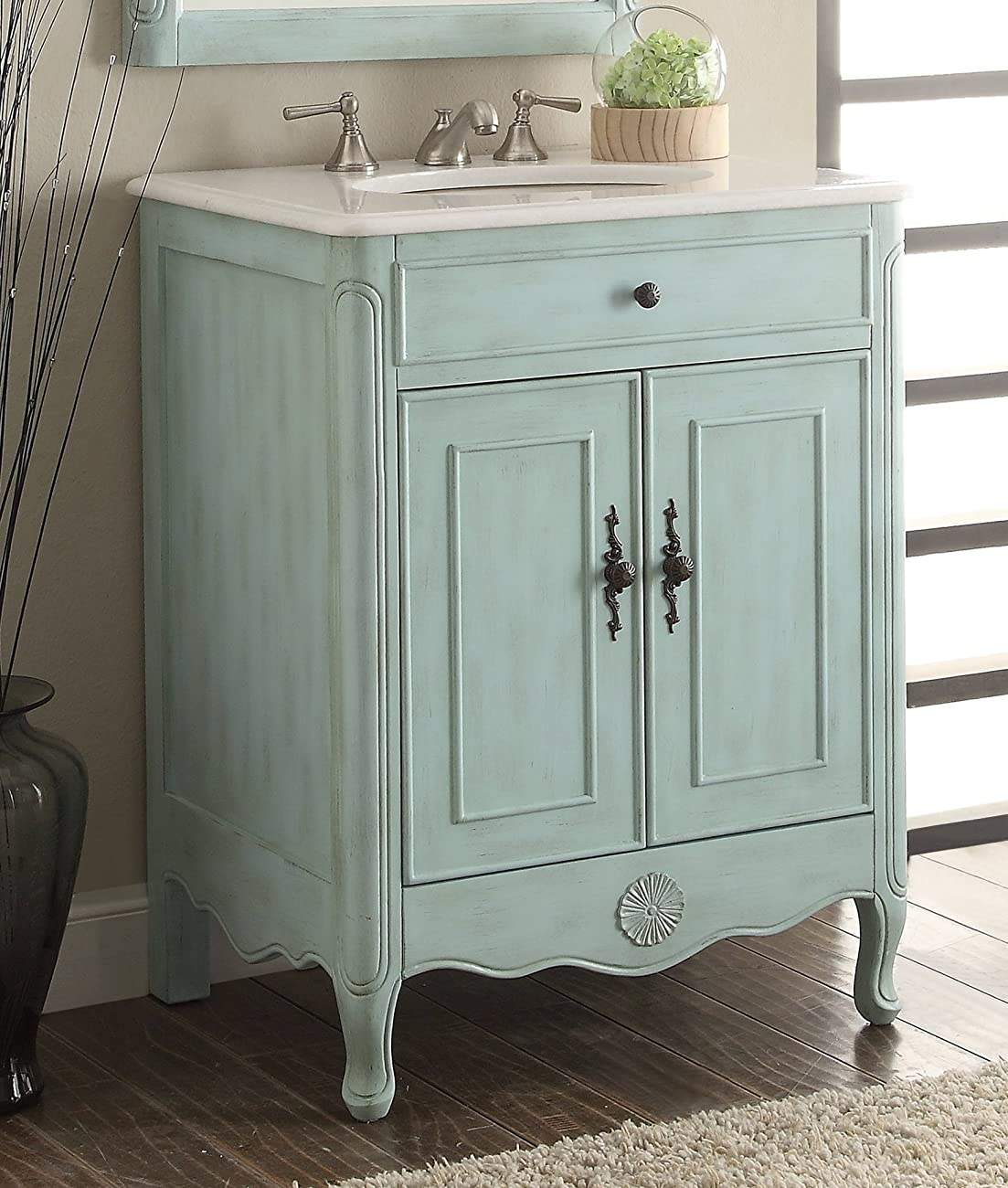 "26 Best Over The Sink Images On Pinterest: 26"" Cottage Style Pastel Light Blue Daleville Bathroom"