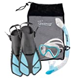 Seavenger Diving Dry Top Snorkel Set with Trek Fin, Single Lens Mask and Gear Bag, L/XL - Size 9 to 13, Gray/Dodger Blue (Color: Gray/Clear Silicone/Dodger Blue, Tamaño: L-XL)