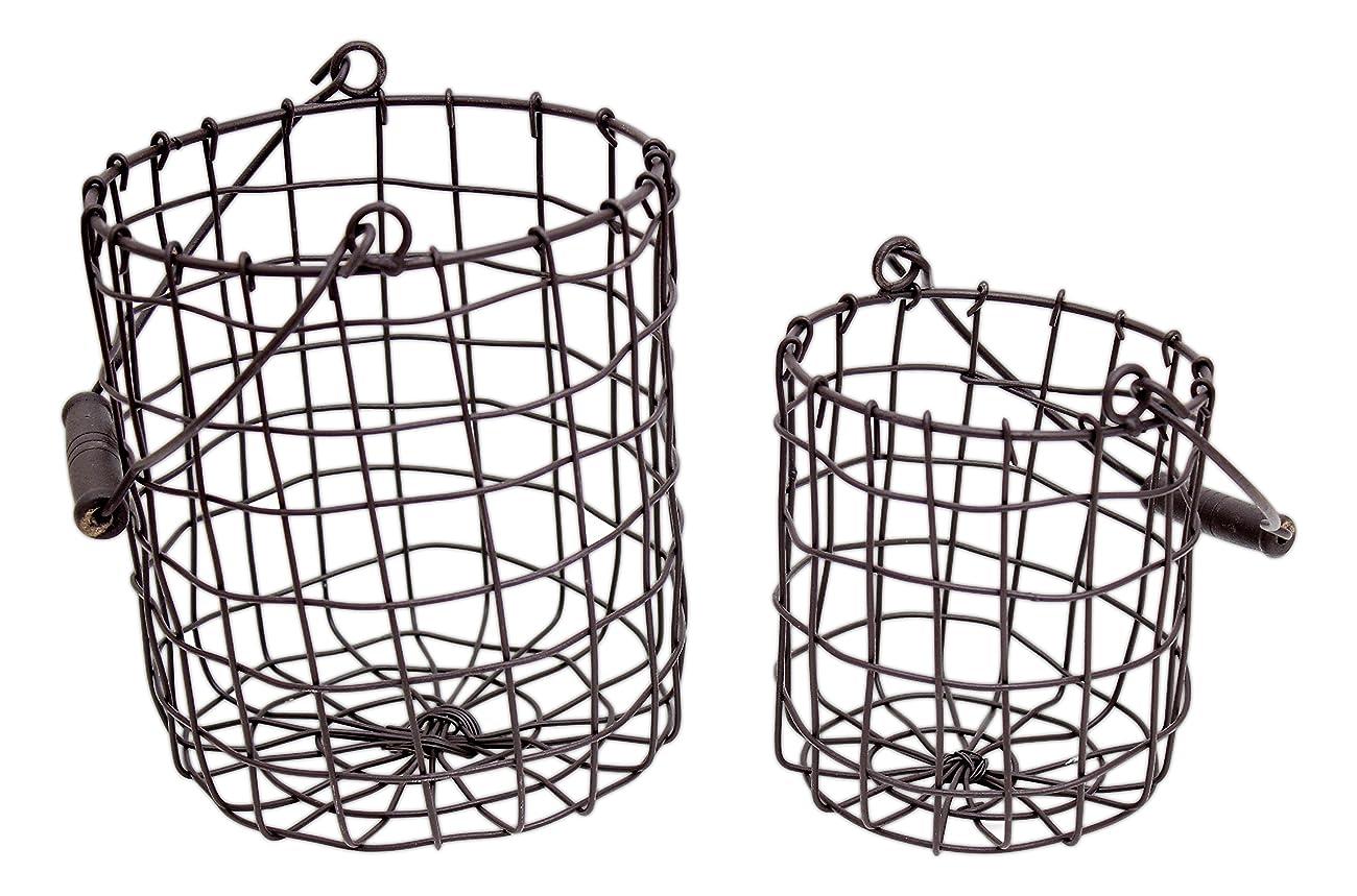 Set of 2 Honey & Me Rustic Metal Round Baskets 0