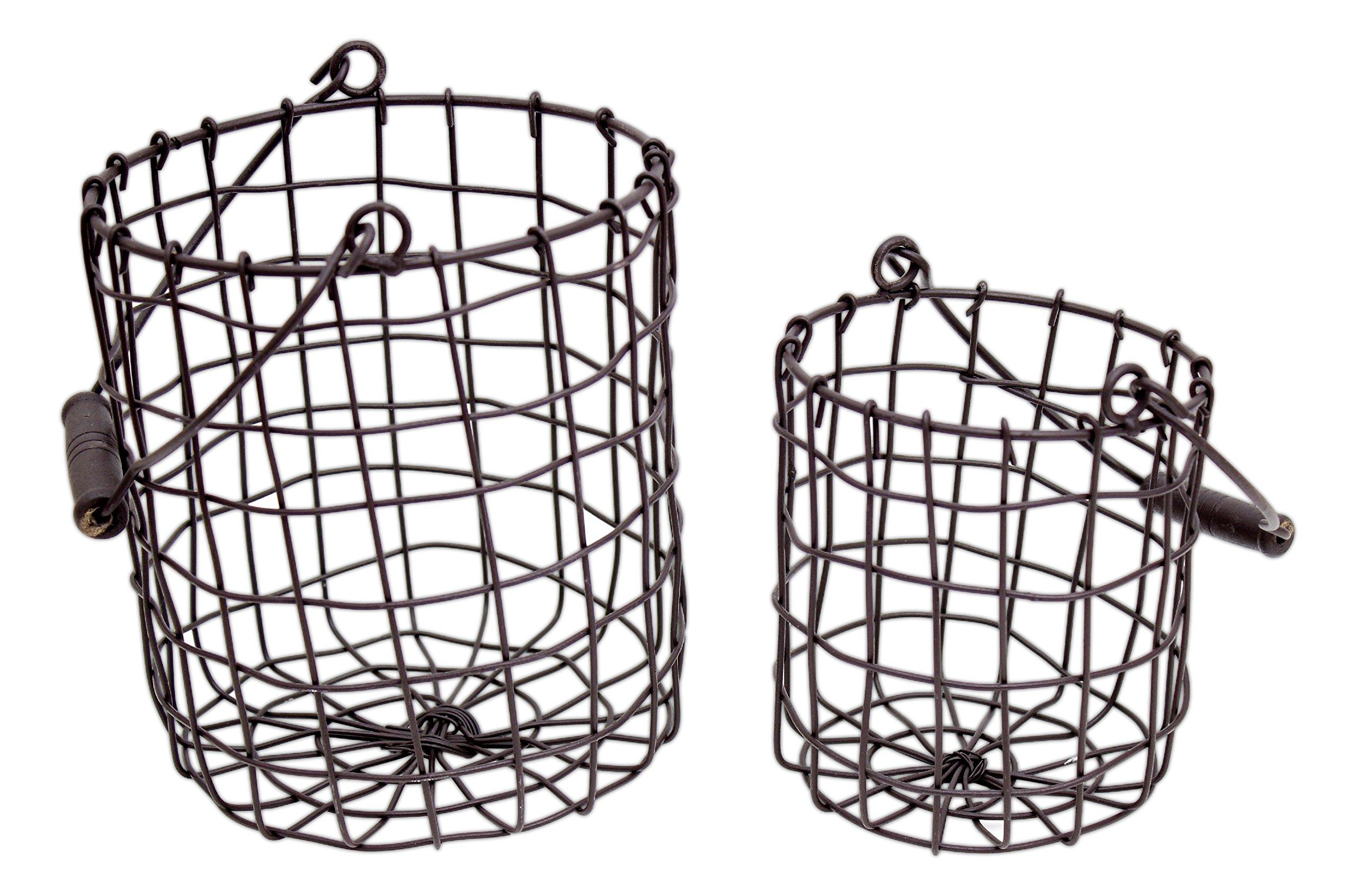 set of 2 honey  u0026 me rustic metal round baskets