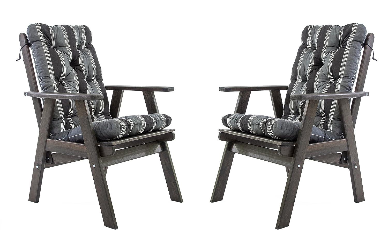 Ambientehome Gartensessel verstellbarer Sessel Stuhl Gartenstuhl Massivholz Hochlehner inkl. Kissen VARBERG, Taupegrau, 2-teiliges Set