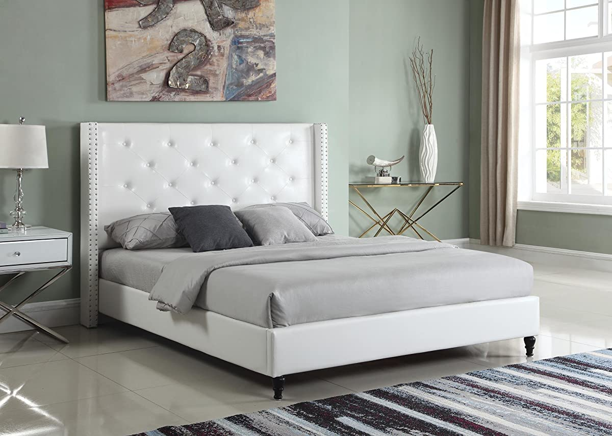 "Home Life Premiere Classics Leather White Tufted with Nails Leather 51"" Tall Headboard Platform Bed with Slats King - Complete Bed 5 Year Warranty Included 007"