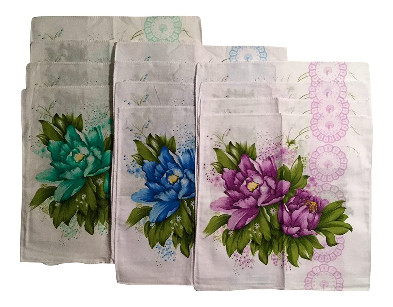 Women's Vintage Inspired Cotton Bold Flowered Handkerchiefs 11