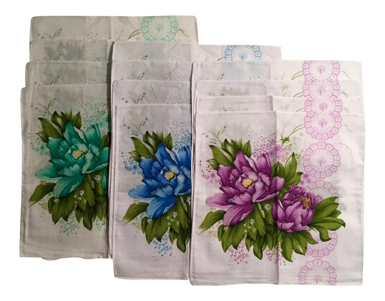 Women's Vintage Inspired Cotton Bold Flowered Handkerchiefs 11