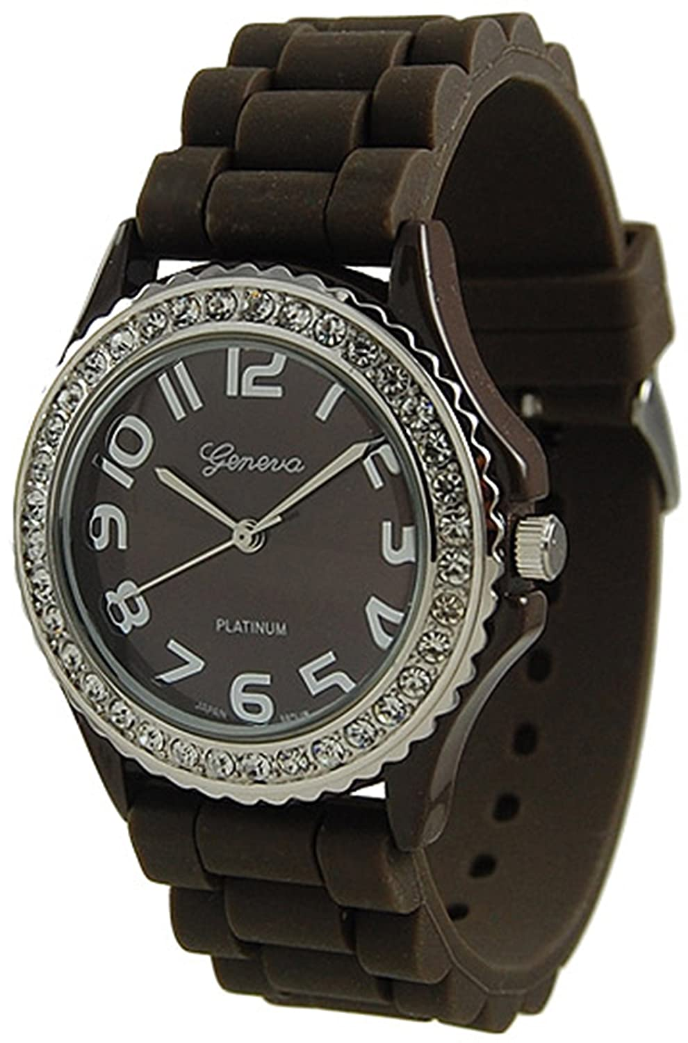 Женские наручные часы Geneva Platinum Women's 6886.Brown Brown Rubber Quartz Watch with Brown Dial