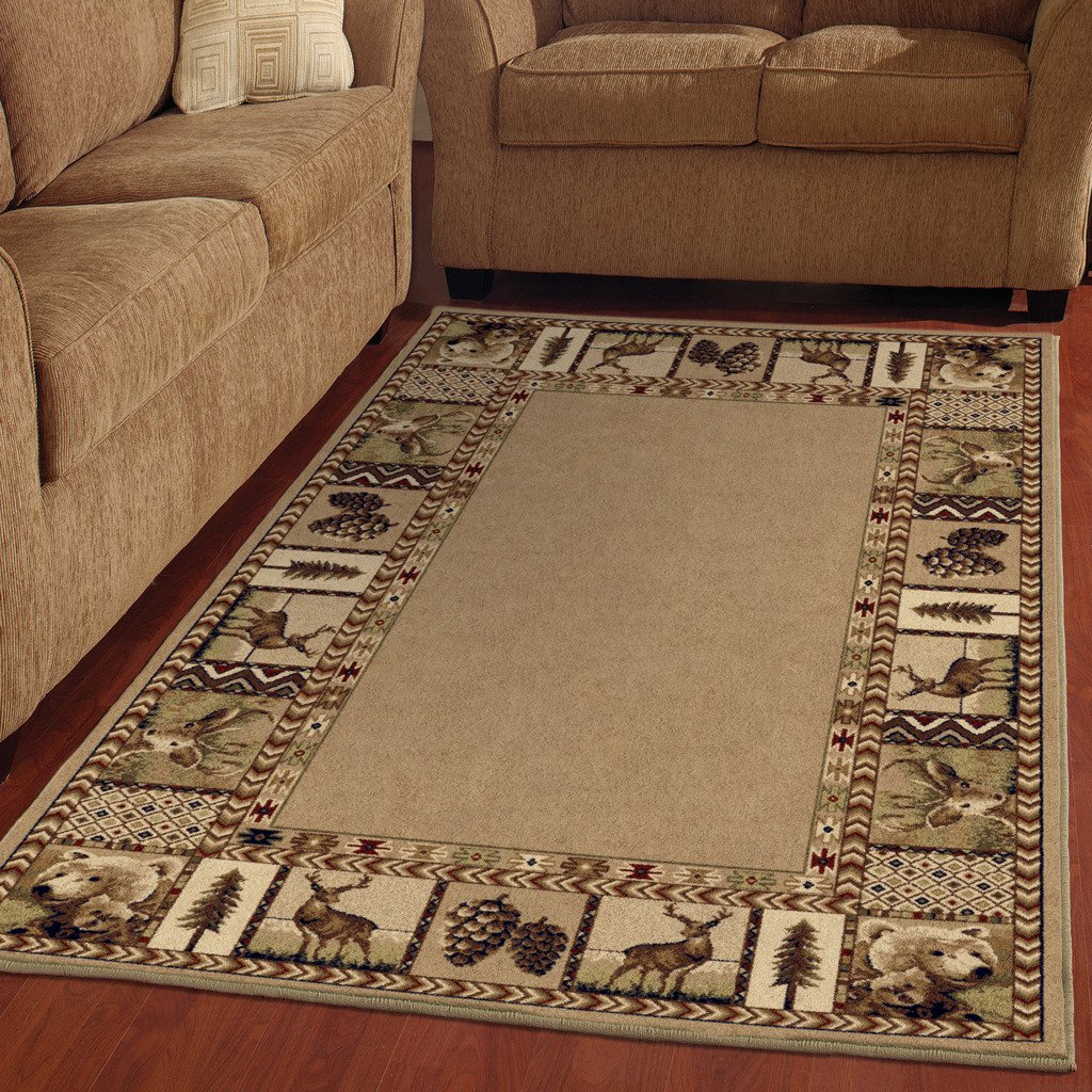 Townhouse Area Rug Southwest Lake Cabin Lodge Rustic Bear