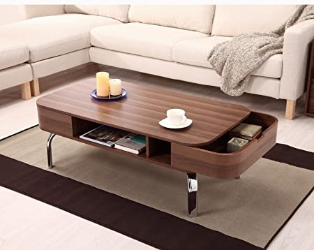 Furniture of America Luxer Coffee Table with Drawers, Walnut