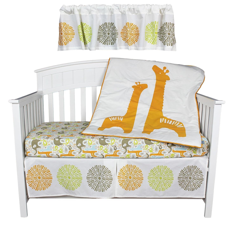 Kidsline Giraffe and Elephant Zoo Pom Pom Baby Bedding