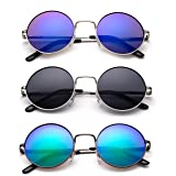 John Lennon 48mm Sunglasses for Kids Teens Vintage Round Circle Lens Flash Lens Spring Hinge (Color: 3 Pack-silver/Smoke & Gunmetal/Green Flash & Silver/Blue Falsh, Tamaño: One Size)
