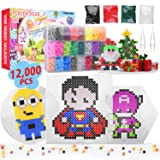 Longruner 12000 Perler Beads, Fuse Beads Kit 24 Colors 5Mm DIY Art Craft Toys for Kids with 3 Pegboards, 50 Patterns | Best Christmas Birthday Toys Gift for Girls Boys 5 Years Old + (Color: 24 Colors, Tamaño: 12000pcs)