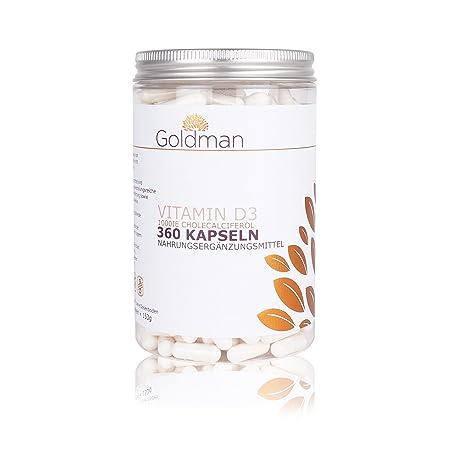 Goldman Premium Vitamin D3 Kapseln - 360 Stuck = 12 Monate Vorrat - 25 µg ( 1000 I.E. ) Vitamin D3 Kapseln hochdosiert - Cholecalciferol - vegan - pharmazeutische Qualität - Made in Germany