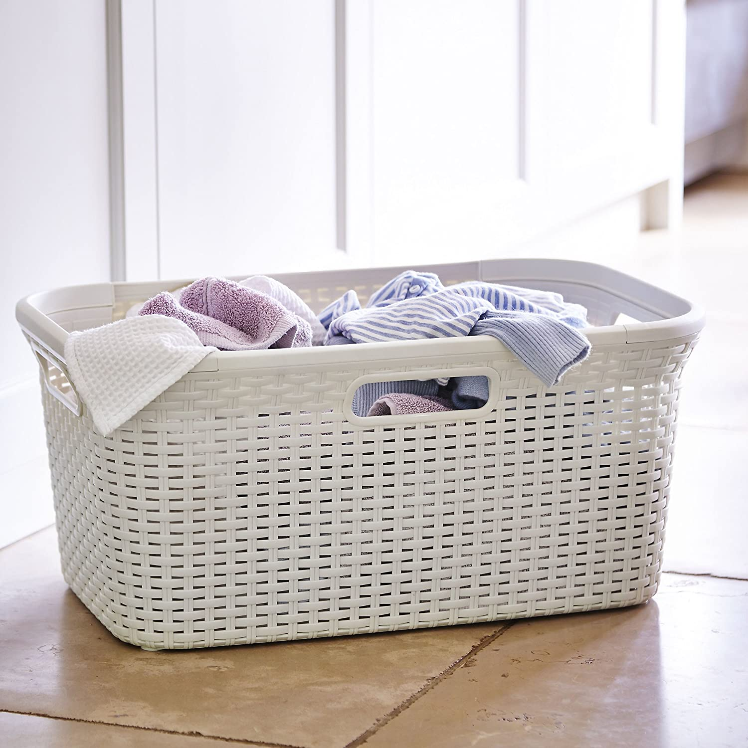 Curver Faux Rattan Laundry & Washing Basket 45L