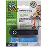 Baby Buddy Secure-A-Toy, Safety Strap Secures Toys, Teether, or Pacifiers to Strollers, Highchairs, Car Seats—Adjustable Length to Keep Toys Sanitary Clean Blue-Navy 2 Count