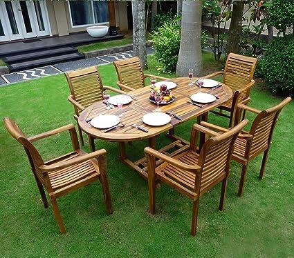 Gartenmöbel, Teak 6–8Sitzer Oval geölt Bali Raja